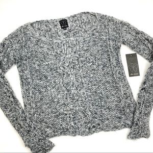 Ella Moss gray and white cable knit sweater